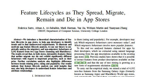 Paper Accepted at RE2015: Feature Lifecycles as They Spread, Migrate, Remain and Die in App Stores
