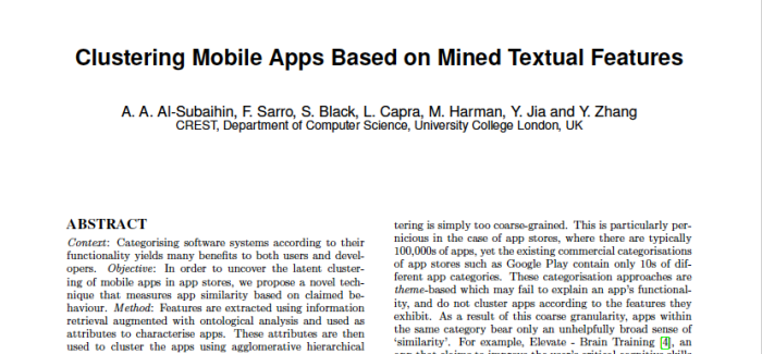 Paper Accepted at ESEM16: Clustering Mobile Apps Based on Mined Textual Features